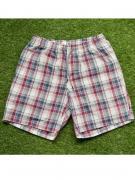 Домашние мужские шорты из хлопка в красную клетку на резинке с двумя...
