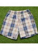 Нежные домашние мужские шорты из хлопка в бежево-синюю клетку на...