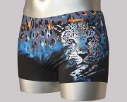 Оригинальные черно-синие мужские плавки со стильным принтом в виде...