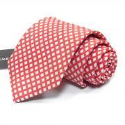 """Красный галстук с рисунком """"белый ромб"""" Rene Lezard 811737"""