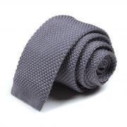 Модный однотонный серый вязаный галстук 73114