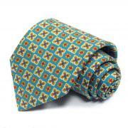 Стильный бирюзовый галстук с оригинальным принтом Benjamin James...