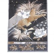 Черный шелковый палантин с цветами и леопардом Leonard 813486