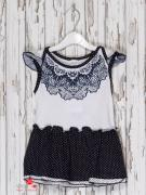 Платье Клим для девочки, цвет белый, темно-синий