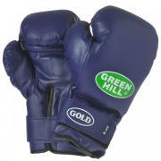 "Перчатки боксерские Green Hill ""Gold"", цвет: синий. Вес 8 унций"