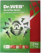 Dr.Web Security Space 2 ПК на 1 год BHW-B-12M-2-A3