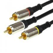 Шнур 3RCA Plug - 3RCA Plug 1.5М (GOLD) - металл REXANT 17-0233