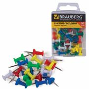 Силовые кнопки-гвоздики Brauberg цветные 50 шт. в пластиковой коробке 221117