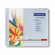 ST125M24 Набор карандашей цветных Staedtler karat aquarell, 24 цвета, металличеcкий пенал