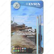 Карандаши цветные LYRA Graduate Aquarell, акварельные, набор 12 цветов + кисть, в металлическом пенале (2881120)