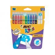 Фломастеры Пиши и стирай BIC, 12 штук, 10 цветов + 2 стирающих, суперсмываемые, вентилируемый колпачок, 9202962