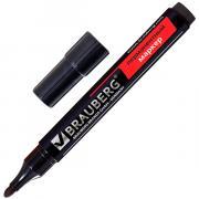 Маркер BRAUBERG перманентный (нестираемый), черный - 3 мм