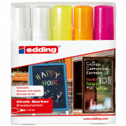 Набор меловых маркеров для окон Edding (Эддинг) 4090, смываемый, клиновидный наконечник, 4-15 мм, 4 цвета, 5 шт Edding 4090