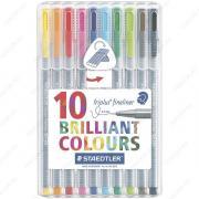Капиллярная ручка Staedtler Triplus Brilliant Colours, набор 10 цветов 334 SB10