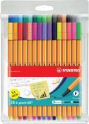 Набор капиллярных ручек линеров STABILO Point 88, 30 цветов, 25 базовых + 5 неоновых