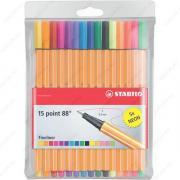 Капиллярная ручка Stabilo Point 88 0,4 мм, набор 15 цветов (8815-1)