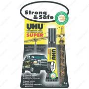 UHU 46960/38570 Super Strong & Safe Клей Стронг Энд Сейф, 7 гр., Эксклюзивный продукт: гель, без запаха, без растворителей, с возможностью коррекции, блистер*