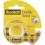Клейкая лента канцелярская прозрачная двухсторонняя (скотч) Scotch Double Sided Tape 12,7mm x 6,3m с диспенсером (3M 136D-EEME)