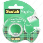 Клейкая лента канцелярская невидимая (скотч) Scotch Magic Tape 19mm x 7,5m с диспенсером (3M 8-1975D-EEME)