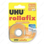 UHU 36975 Rollafix Double Face Клеящая лента двусторонняя, 12 мм х 6 м., в диспенсере