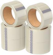 Клейкая лента в рулоне, 6 шт., 48 мм., 66 м 45 мкм прозрачная, односторонняя, канцелярская, водостойкая, для упаковки коробок и фиксации
