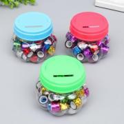 """Клейкая лента пластик в банке """"Голография"""" (набор 40 шт) цвета МИКС 1,2смх2,8м 7,5х8,5х8,5см"""