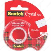 Клейкая лента канцелярская прозрачная (скотч) Scotch Cryistal 19mm x 7,5m с диспенсером (3M-6-1975D-EEME)