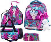 Ранец DeLune Full-set 9-122 + мешок + жесткий пенал + спортивная сумка + фартук для труда + мишка