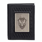 Мужская кожаная обложка для паспорта и автодокументов + портмоне Makey «ФСБ-1» с накладкой покрытой никелем