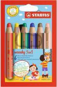 Набор STABILO Woody 3 в 1: карандаш + акварель + восковой мелок, утолщенные, 6 цветов