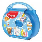 """Набор для творчества MAPED """"Color'Peps Jumbo"""", 10 фломастеров, 12 утолщенных восковых мелков, раскраска, пластиковый пенал, 897416"""