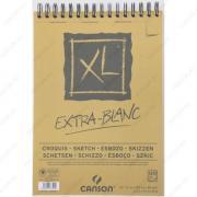 Альбом CANSON XL Extra-Blank для пастели и угля. Экстра белая, 21х29.7см, 90г/м2, 120л, спираль по короткой стороне (200787500)