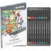 Фломастеры Lyra Art Pen Hi-Quality, художественные, набор 10 цветов, в металлическом пенале (6751100)