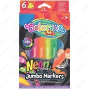 Фломастеры Colorino Kids Jumbo Neon Colours, треугольные набор 6 неоновых цветов (38881PTR)
