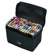 Маркеры (фломастеры) для скетчинга 120 штук (цветов) (набор профессиональных двухсторонних скетч маркеров в чехле)