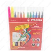 Фломастеры Stabilo Trio A-Z с трехгранной зоной обхвата, набор 12 цветов (378/1-12-02)