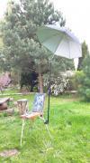 Зонтик на этюдник с телескопической опорой на плоской струбцине мод. PFM-010