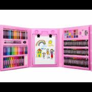 Набор юного художника с мольбертом 176 предметов (Розовый)