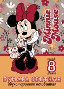 Цветная бумага Hatber Minnie Mouse А4 двухсторонняя 8л