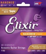 13-53 Elixir 11182 Nanoweb with Anti-Rust Plain Steels 80/20 Bronze HD Light