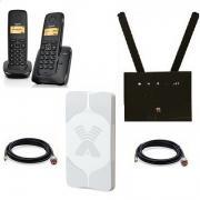 Комплект ShopCarry SIM 315-2AA стационарный сотовый радио DECT телефон с двумя трубками GSM/4G/3G WIFI роутер и антенна MIMO
