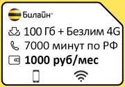 "Эксклюзивный тариф билайн ""Ключевой 1000 + 4G"", 1000 руб./мес."