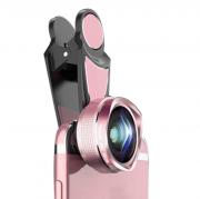 Широкоугольный макро объектив L620 для телефонов 16 мм без искажений (Черный с розовым)