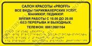 Тактильные таблички шрифтом Брайля (любой текст)