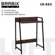 "Компьютерный стол лофт на металлокаркасе BRABIX ""LOFT CD-003"", 640х420х840 мм, цвет морёный дуб, 641215"