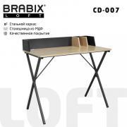 "Компьютерный стол лофт на металлокаркасе BRABIX ""LOFT CD-007"", 800х500х840 мм, органайзер, комбинированный, 641227"