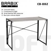 "Компьютерный стол лофт на металлокаркасе складной, BRABIX ""LOFT CD-002"", 1000х500х750 мм, цвет дуб антик, 641213"