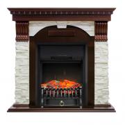 Электрокамин с классическим очагом 2D Royal flame Dublin арочный сланец белый с очагом Fobos/Majestic (Темный дуб)