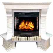 Электрокамин с широким очагом 2D Royal flame Pierre Luxe угл сланец белый с очагом Dioramic 25 FX