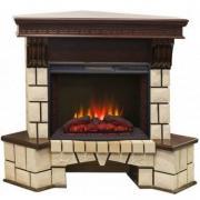 Электрокамин с широким очагом 2D Real-flame Stone Corner new 25 с очагом Sparta 25,5 LED